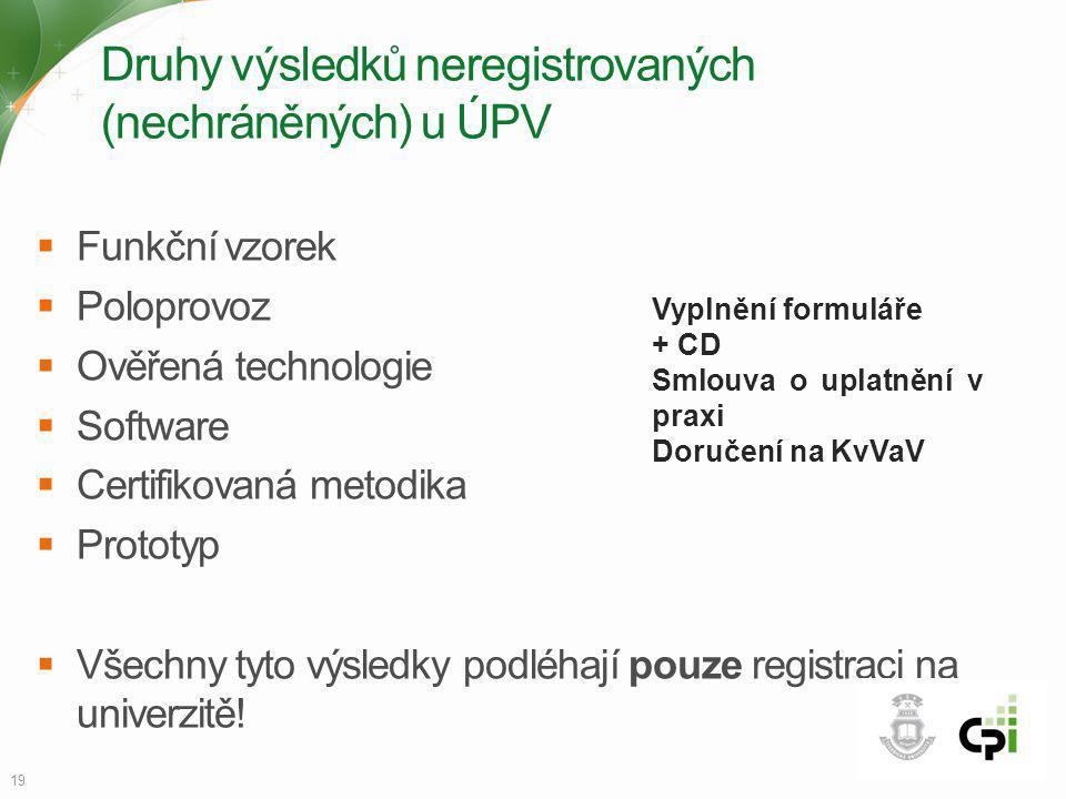 Druhy výsledků neregistrovaných (nechráněných) u ÚPV  Funkční vzorek  Poloprovoz  Ověřená technologie  Software  Certifikovaná metodika  Prototy