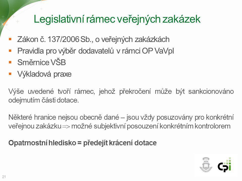 Legislativní rámec veřejných zakázek  Zákon č. 137/2006 Sb., o veřejných zakázkách  Pravidla pro výběr dodavatelů v rámci OP VaVpI  Směrnice VŠB 