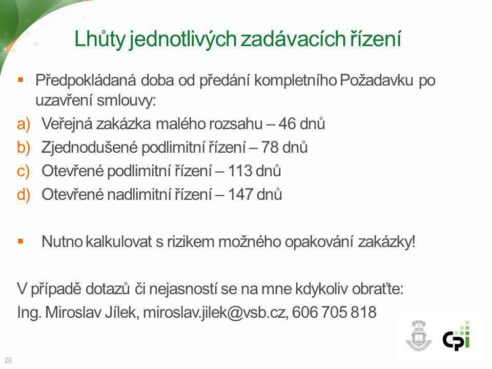 Lhůty jednotlivých zadávacích řízení  Předpokládaná doba od předání kompletního Požadavku po uzavření smlouvy: a)Veřejná zakázka malého rozsahu – 46