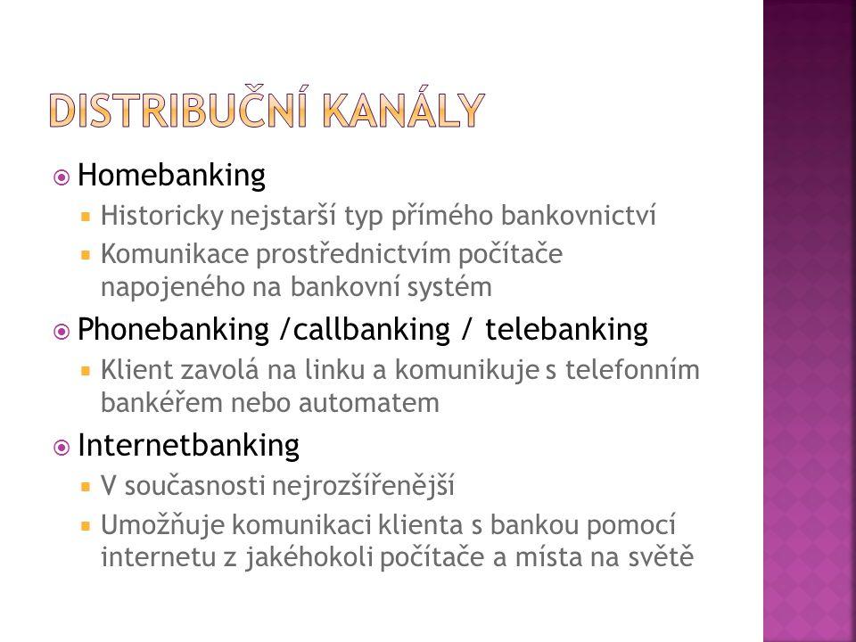  Homebanking  Historicky nejstarší typ přímého bankovnictví  Komunikace prostřednictvím počítače napojeného na bankovní systém  Phonebanking /call