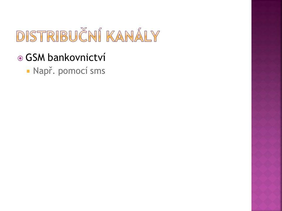  GSM bankovnictví  Např. pomocí sms