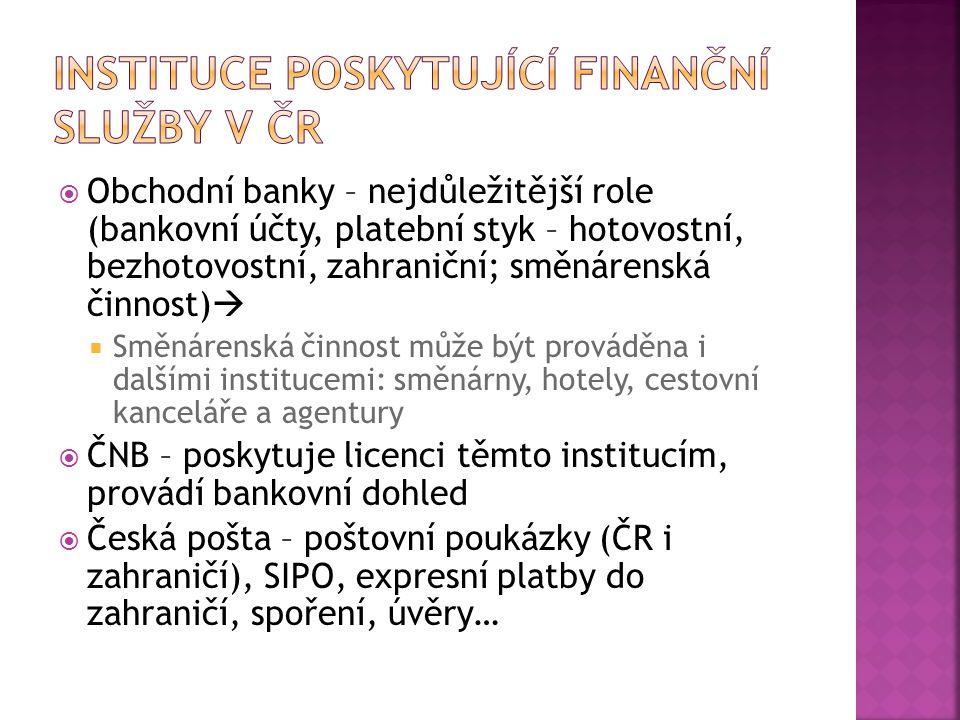  Obchodní banky – nejdůležitější role (bankovní účty, platební styk – hotovostní, bezhotovostní, zahraniční; směnárenská činnost)   Směnárenská čin