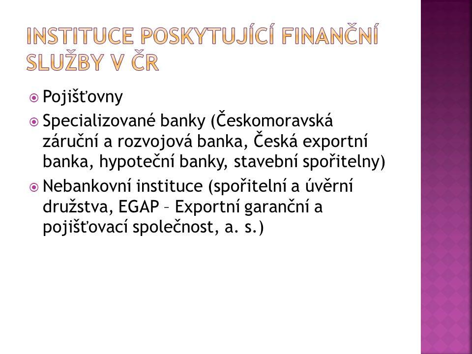  Pojišťovny  Specializované banky (Českomoravská záruční a rozvojová banka, Česká exportní banka, hypoteční banky, stavební spořitelny)  Nebankovní