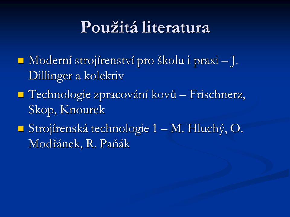 Použitá literatura Moderní strojírenství pro školu i praxi – J.