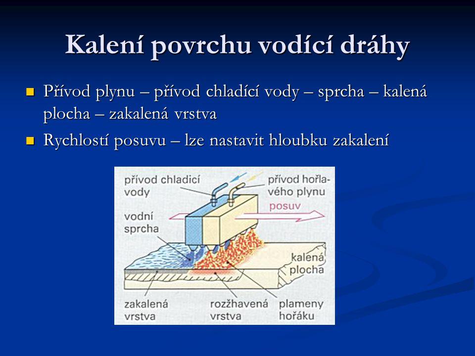 Kalení povrchu vodící dráhy Přívod plynu – přívod chladící vody – sprcha – kalená plocha – zakalená vrstva Rychlostí posuvu – lze nastavit hloubku zak