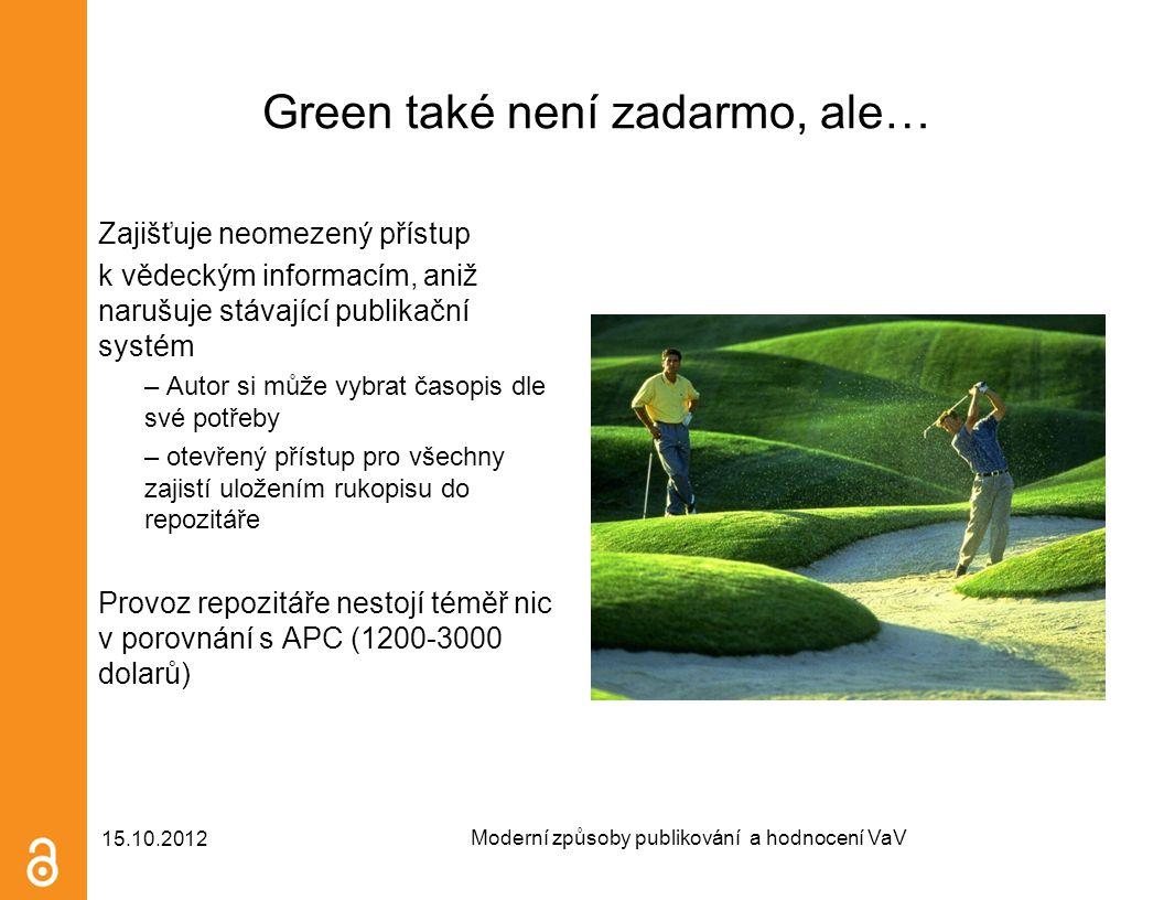 Green také není zadarmo, ale… Zajišťuje neomezený přístup k vědeckým informacím, aniž narušuje stávající publikační systém – Autor si může vybrat časo