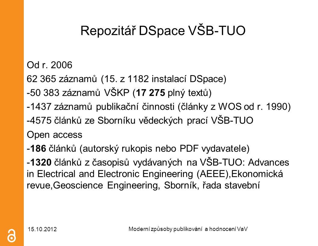 Repozitář DSpace VŠB-TUO Od r. 2006 62 365 záznamů (15. z 1182 instalací DSpace) -50 383 záznamů VŠKP (17 275 plný textů) -1437 záznamů publikační čin