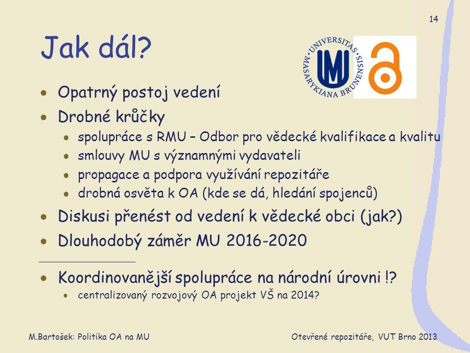 M.Bartošek: Politika OA na MU Otevřené repozitáře, VUT Brno 2013 14 Jak dál.