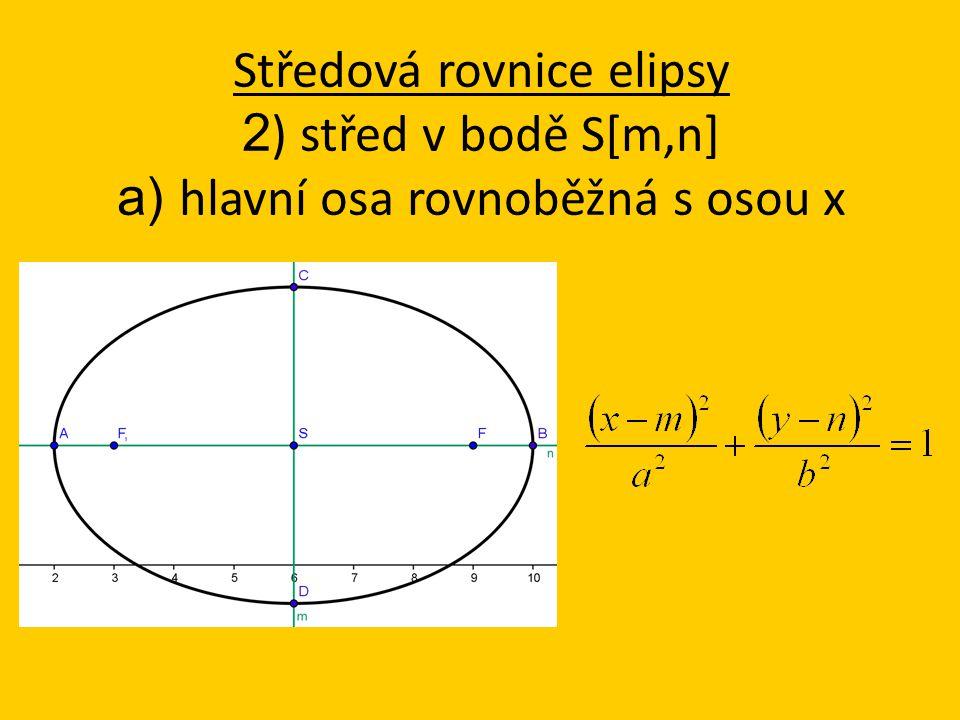 Středová rovnice elipsy 2 ) střed v bodě S[m,n] a) hlavní osa rovnoběžná s osou x