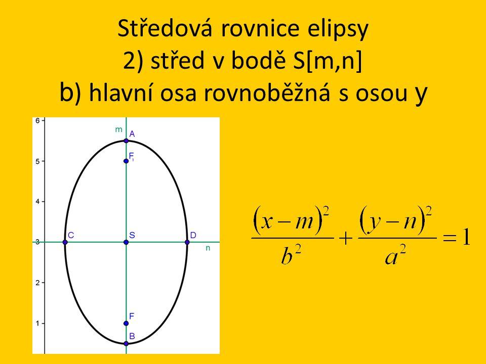 Středová rovnice elipsy 2) střed v bodě S[m,n] b ) hlavní osa rovnoběžná s osou y