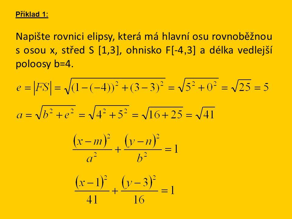 Napište rovnici elipsy, která má hlavní osu rovnoběžnou s osou x, střed S [1,3], ohnisko F[-4, 3] a délka vedlejší poloosy b=4. Příklad 1: