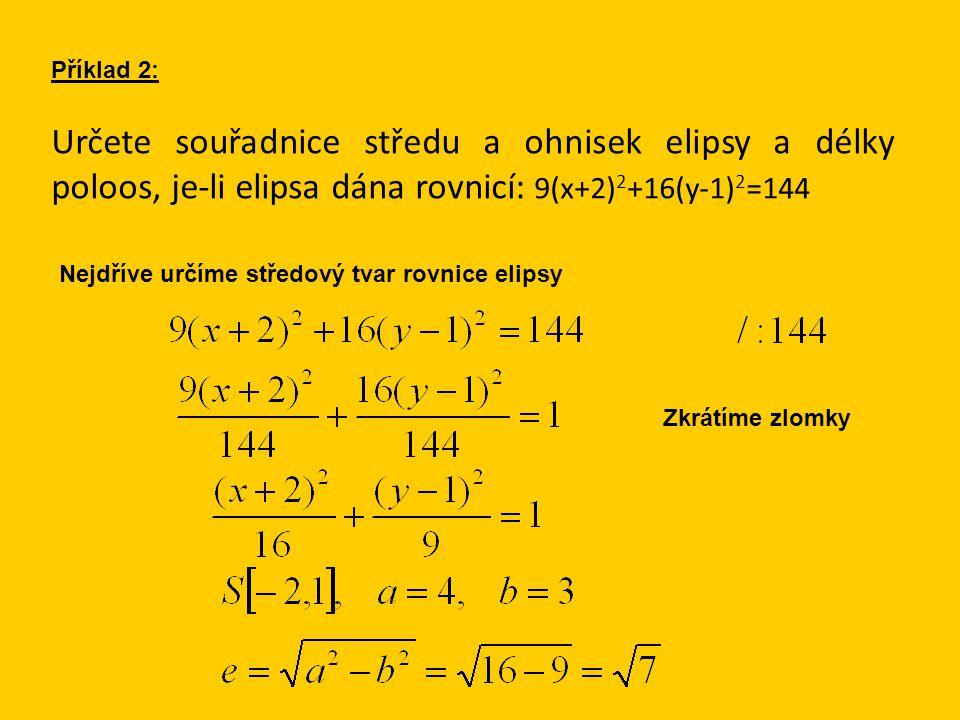 Příklad 2: Určete souřadnice středu a ohnisek elipsy a délky poloos, je-li elipsa dána rovnicí: 9(x+2) 2 +16(y-1) 2 =144 Nejdříve určíme středový tvar
