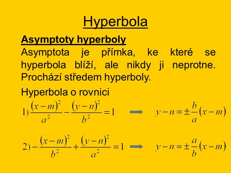Hyperbola Asymptoty hyperboly Asymptota je přímka, ke které se hyperbola blíží, ale nikdy ji neprotne.