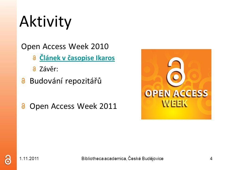Aktivity 3.setkání českých uživatelů Dspace 2010 Popularizace otevřeného přístupu a repozitářů 4.