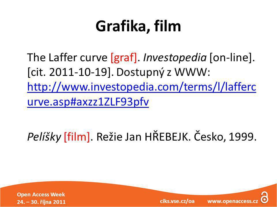 Open Access Week 24. – 30. října 2011 ciks.vse.cz/oa www.openaccess.cz Grafika, film The Laffer curve [graf]. Investopedia [on-line]. [cit. 2011-10-19
