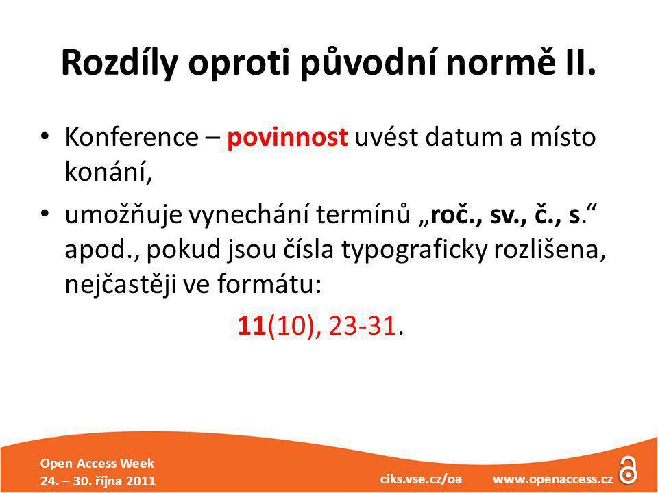 Open Access Week 24. – 30. října 2011 ciks.vse.cz/oa www.openaccess.cz Rozdíly oproti původní normě II. Konference – povinnost uvést datum a místo kon