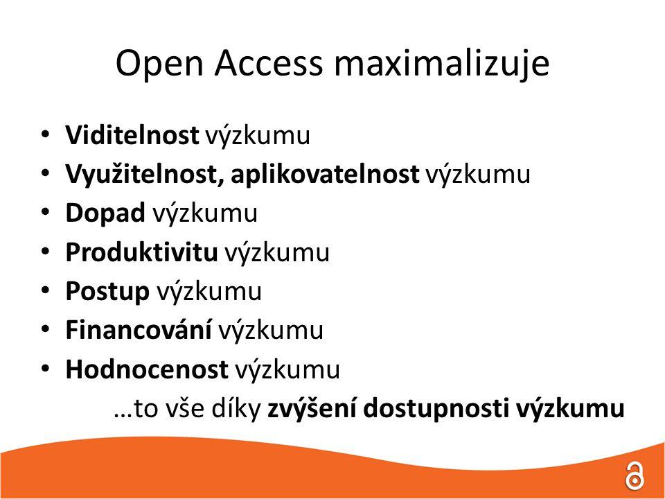 Open Access maximalizuje Viditelnost výzkumu Využitelnost, aplikovatelnost výzkumu Dopad výzkumu Produktivitu výzkumu Postup výzkumu Financování výzkumu Hodnocenost výzkumu …to vše díky zvýšení dostupnosti výzkumu