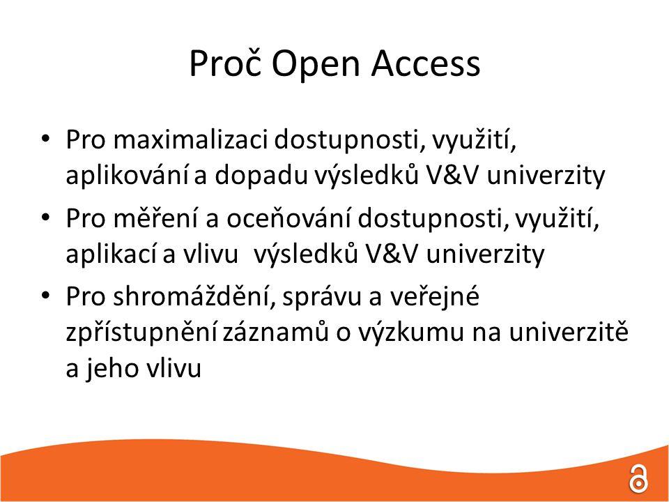 Proč Open Access Pro maximalizaci dostupnosti, využití, aplikování a dopadu výsledků V&V univerzity Pro měření a oceňování dostupnosti, využití, aplikací a vlivu výsledků V&V univerzity Pro shromáždění, správu a veřejné zpřístupnění záznamů o výzkumu na univerzitě a jeho vlivu