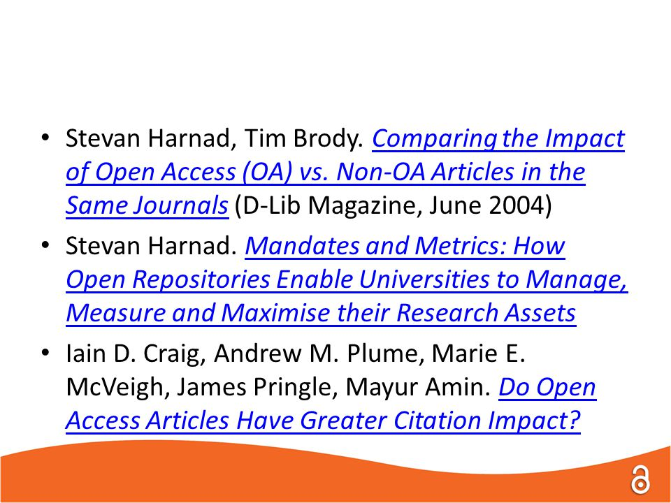 Stevan Harnad, Tim Brody. Comparing the Impact of Open Access (OA) vs.