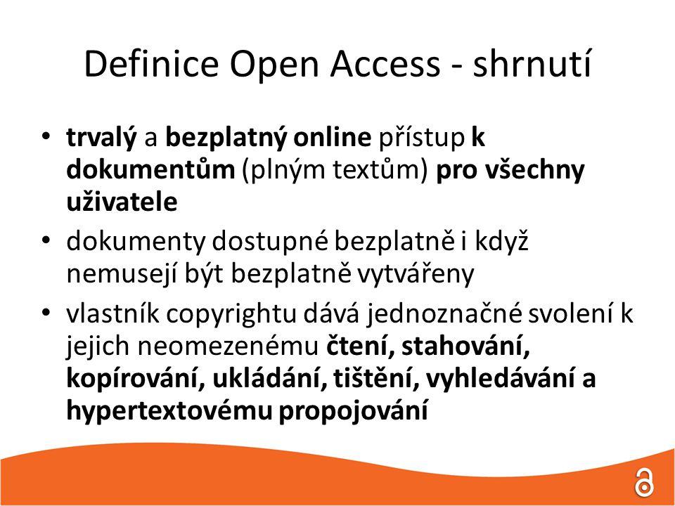 Definice Open Access - shrnutí trvalý a bezplatný online přístup k dokumentům (plným textům) pro všechny uživatele dokumenty dostupné bezplatně i když nemusejí být bezplatně vytvářeny vlastník copyrightu dává jednoznačné svolení k jejich neomezenému čtení, stahování, kopírování, ukládání, tištění, vyhledávání a hypertextovému propojování