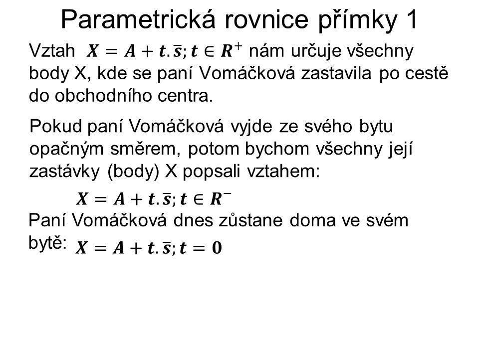 Parametrická rovnice přímky 1 Pokud paní Vomáčková vyjde ze svého bytu opačným směrem, potom bychom všechny její zastávky (body) X popsali vztahem: Paní Vomáčková dnes zůstane doma ve svém bytě:
