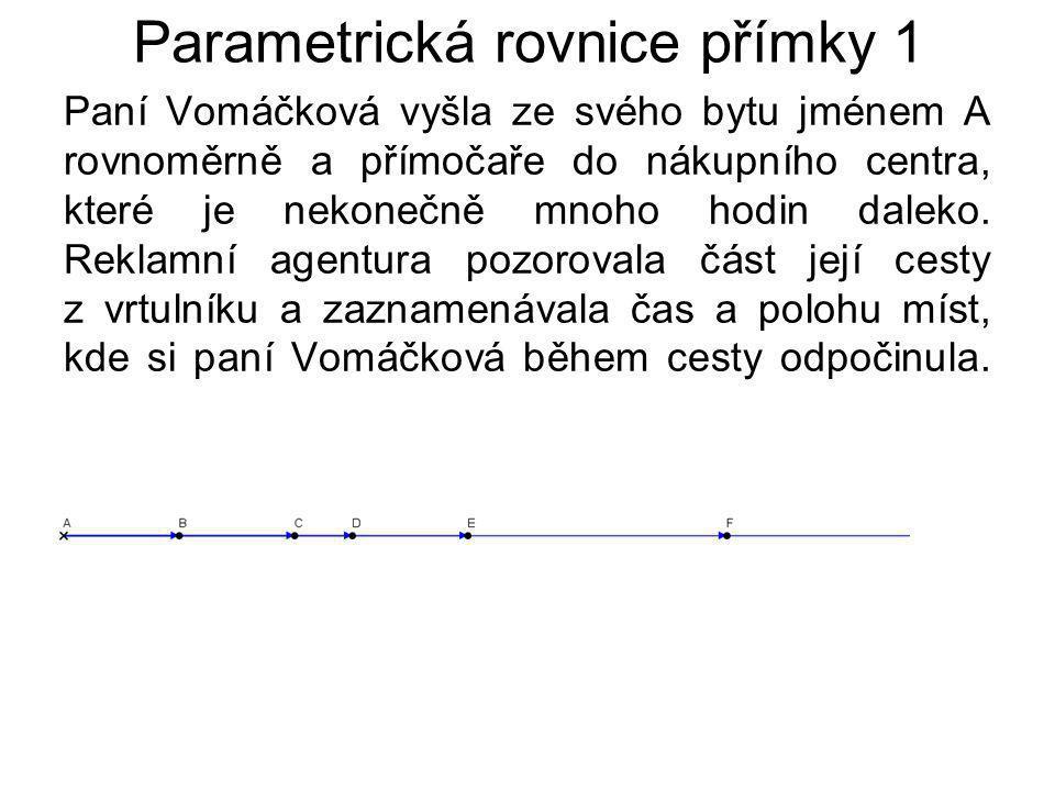 Parametrická rovnice přímky 1 Paní Vomáčková vyšla ze svého bytu jménem A rovnoměrně a přímočaře do nákupního centra, které je nekonečně mnoho hodin daleko.