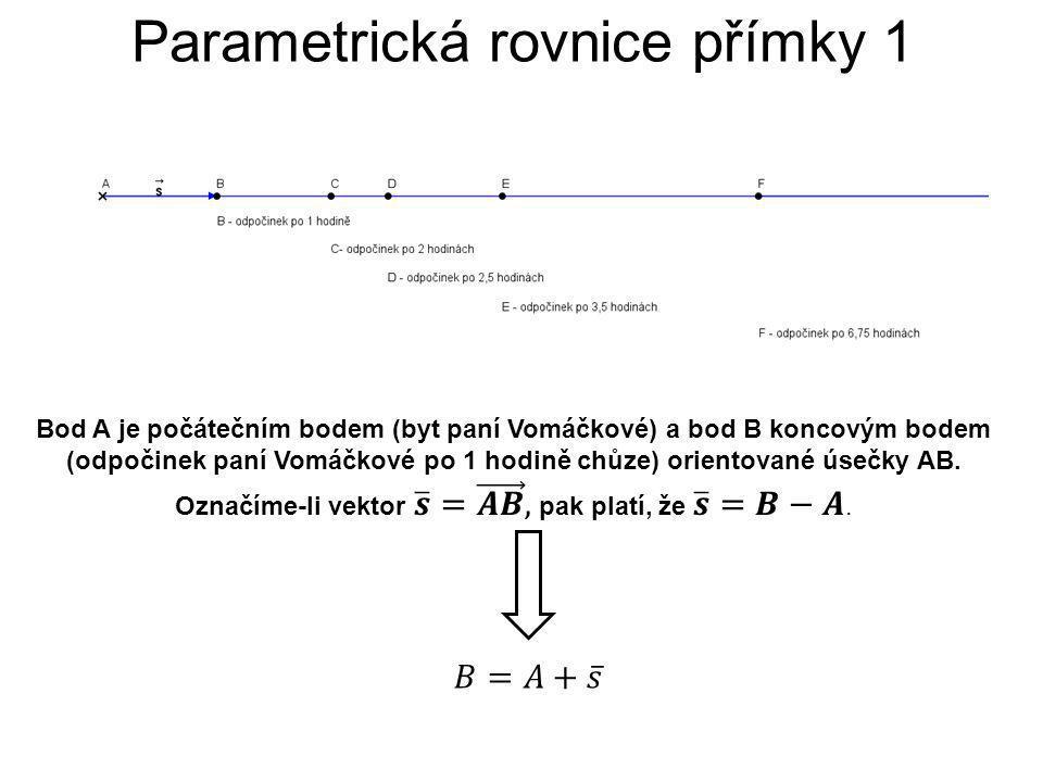 Parametrická rovnice přímky 1