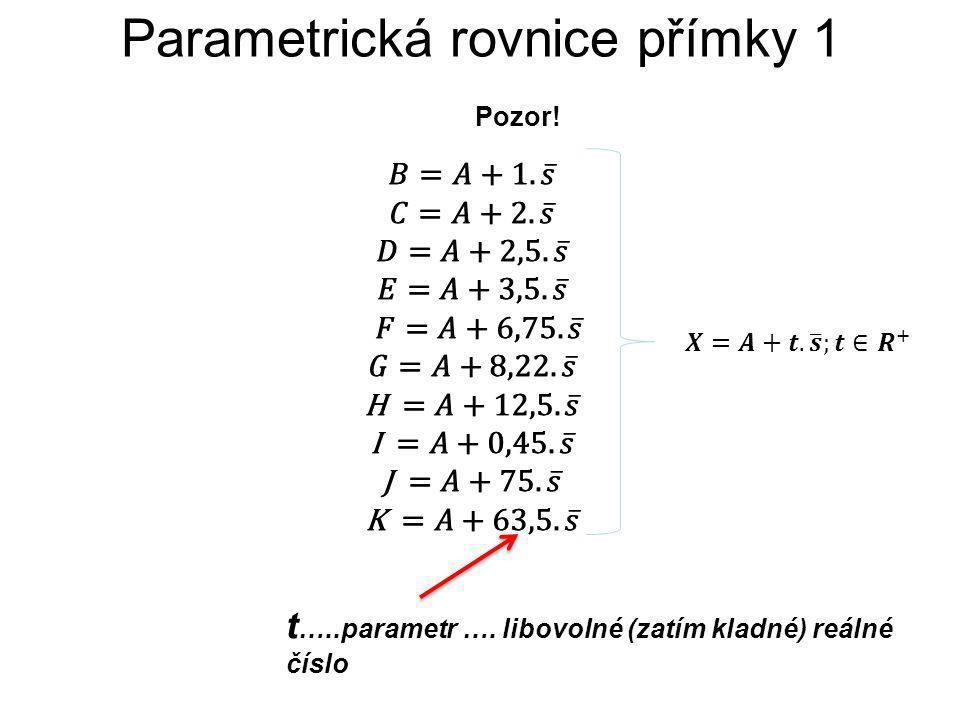 Parametrická rovnice přímky 1 Pozor! t …..parametr …. libovolné (zatím kladné) reálné číslo