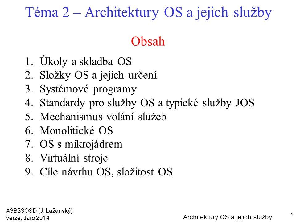 A3B33OSD (J. Lažanský) verze: Jaro 2014 Architektury OS a jejich služby 1 Obsah Téma 2 – Architektury OS a jejich služby 1.Úkoly a skladba OS 2.Složky