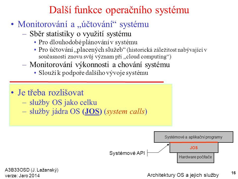 """A3B33OSD (J. Lažanský) verze: Jaro 2014 Architektury OS a jejich služby 16 Další funkce operačního systému Monitorování a """"účtování"""" systému –Sběr sta"""