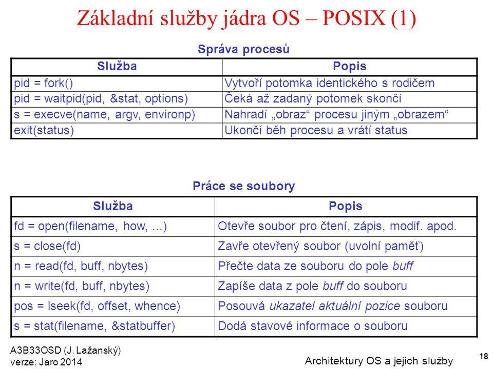 A3B33OSD (J. Lažanský) verze: Jaro 2014 Architektury OS a jejich služby 18 Základní služby jádra OS – POSIX (1) Správa procesů SlužbaPopis pid = fork(
