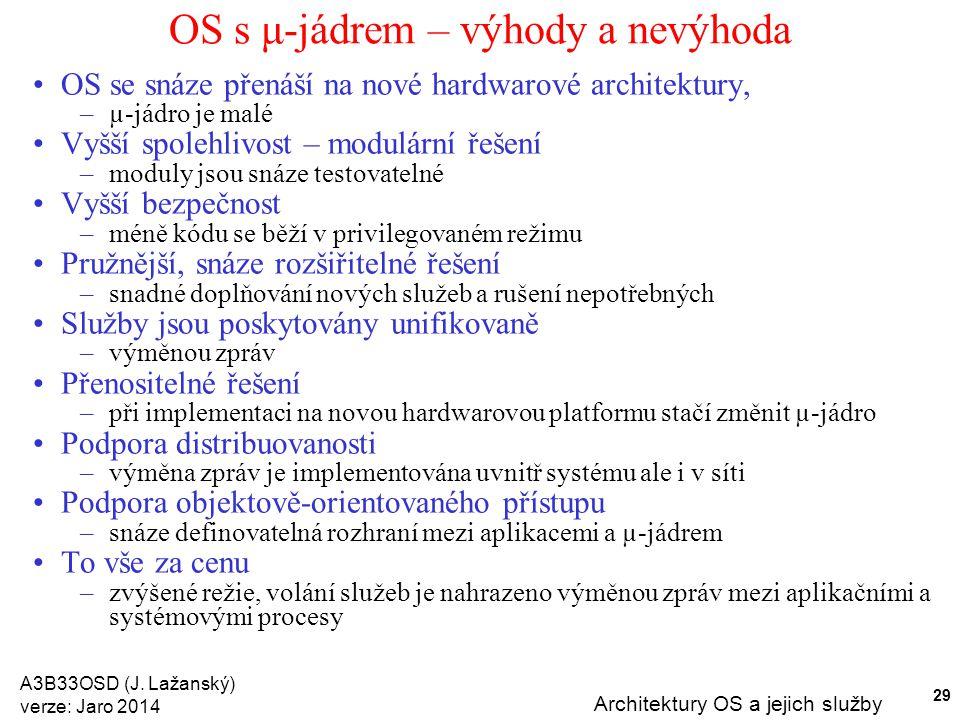 A3B33OSD (J. Lažanský) verze: Jaro 2014 Architektury OS a jejich služby 29 OS s μ-jádrem – výhody a nevýhoda OS se snáze přenáší na nové hardwarové ar