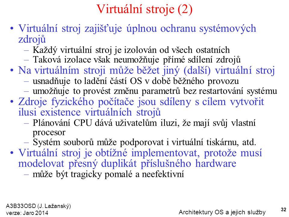 A3B33OSD (J. Lažanský) verze: Jaro 2014 Architektury OS a jejich služby 32 Virtuální stroje (2) Virtuální stroj zajišťuje úplnou ochranu systémových z