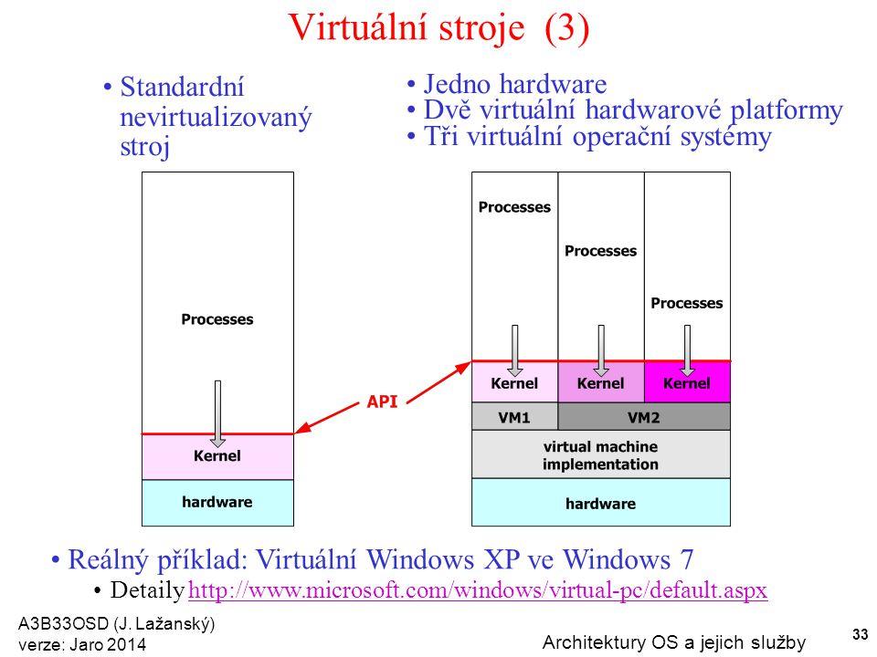 A3B33OSD (J. Lažanský) verze: Jaro 2014 Architektury OS a jejich služby 33 Virtuální stroje (3) Standardní nevirtualizovaný stroj Jedno hardware Dvě v