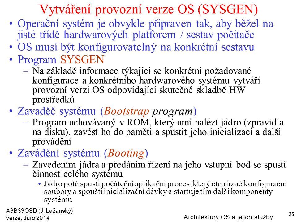 A3B33OSD (J. Lažanský) verze: Jaro 2014 Architektury OS a jejich služby 35 Vytváření provozní verze OS (SYSGEN) Operační systém je obvykle připraven t