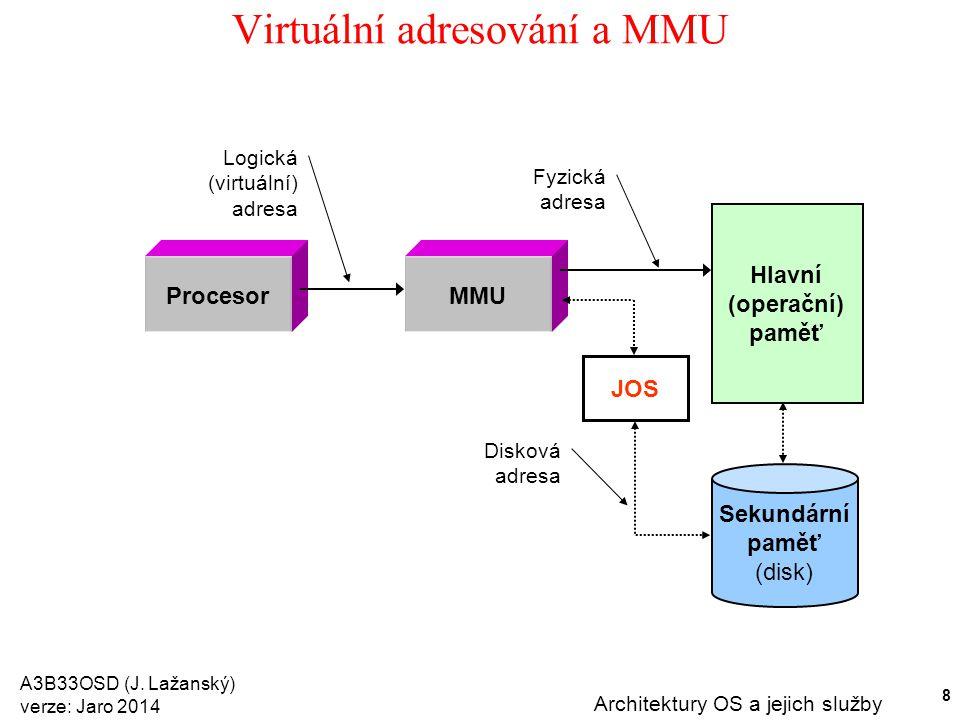 A3B33OSD (J. Lažanský) verze: Jaro 2014 Architektury OS a jejich služby 8 Virtuální adresování a MMU Procesor Logická (virtuální) adresa Hlavní (opera
