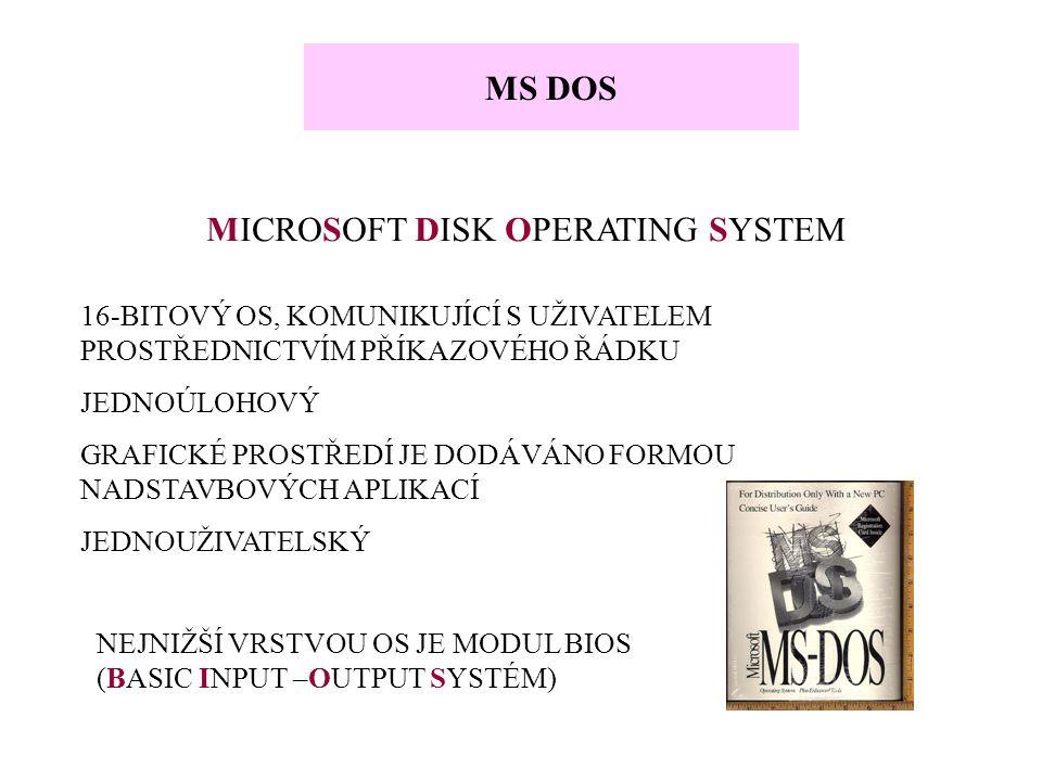 MS DOS MICROSOFT DISK OPERATING SYSTEM 16-BITOVÝ OS, KOMUNIKUJÍCÍ S UŽIVATELEM PROSTŘEDNICTVÍM PŘÍKAZOVÉHO ŘÁDKU JEDNOÚLOHOVÝ GRAFICKÉ PROSTŘEDÍ JE DO