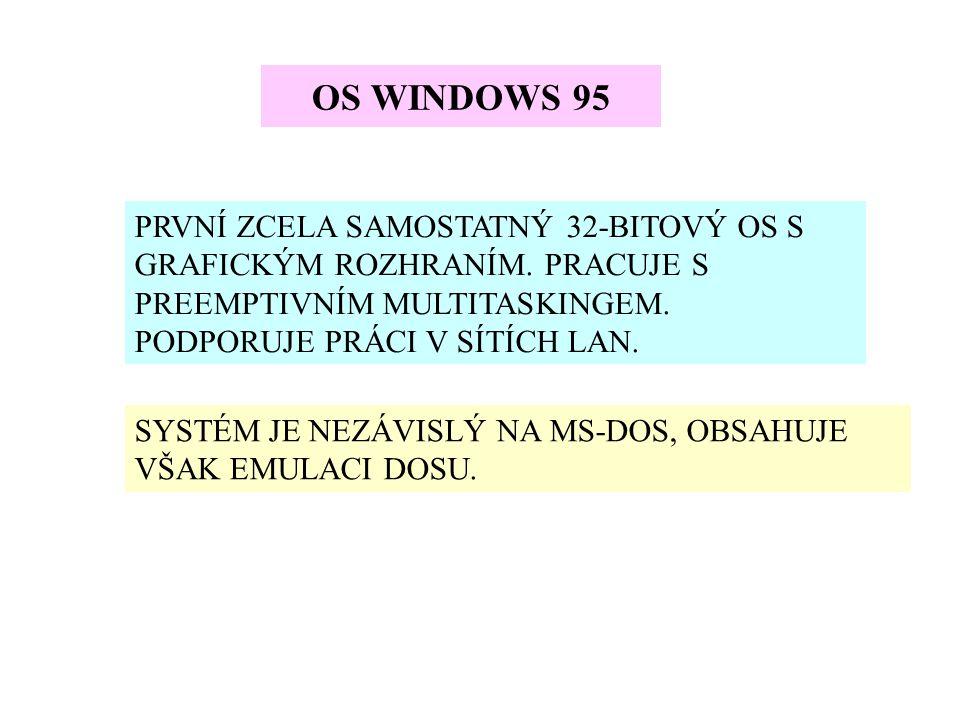 OS WINDOWS 95 PRVNÍ ZCELA SAMOSTATNÝ 32-BITOVÝ OS S GRAFICKÝM ROZHRANÍM. PRACUJE S PREEMPTIVNÍM MULTITASKINGEM. PODPORUJE PRÁCI V SÍTÍCH LAN. SYSTÉM J