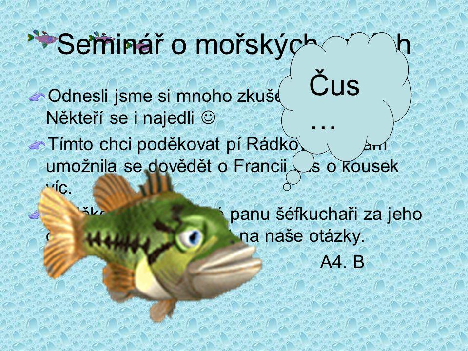 Seminář o mořských rybách Odnesli jsme si mnoho zkušeností a zážitků.
