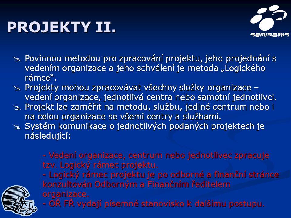 """PROJEKTY II.  Povinnou metodou pro zpracování projektu, jeho projednání s vedením organizace a jeho schválení je metoda """"Logického rámce"""".  Projekty"""
