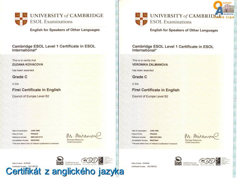 Certifikát z anglického jazyka