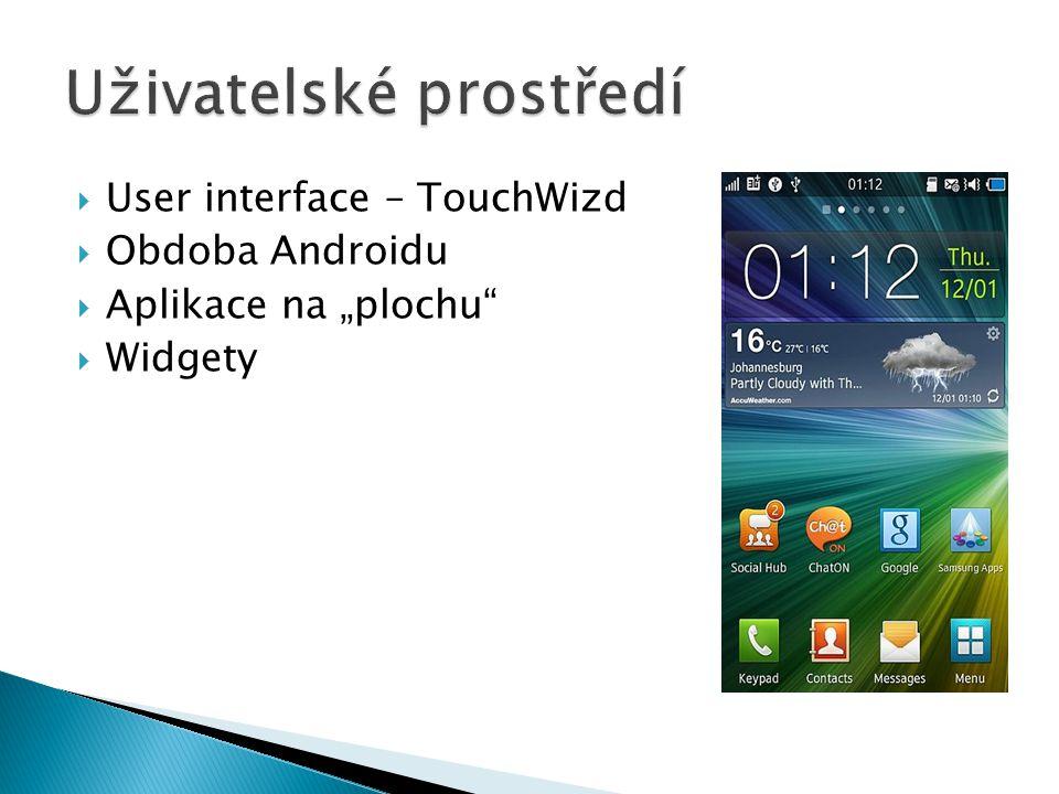 " User interface – TouchWizd  Obdoba Androidu  Aplikace na ""plochu  Widgety"