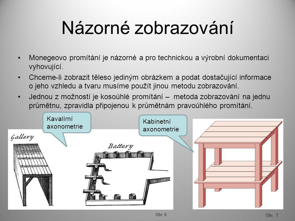 Názorné zobrazování Monegeovo promítání je názorné a pro technickou a výrobní dokumentaci vyhovující. Chceme-li zobrazit těleso jediným obrázkem a pod
