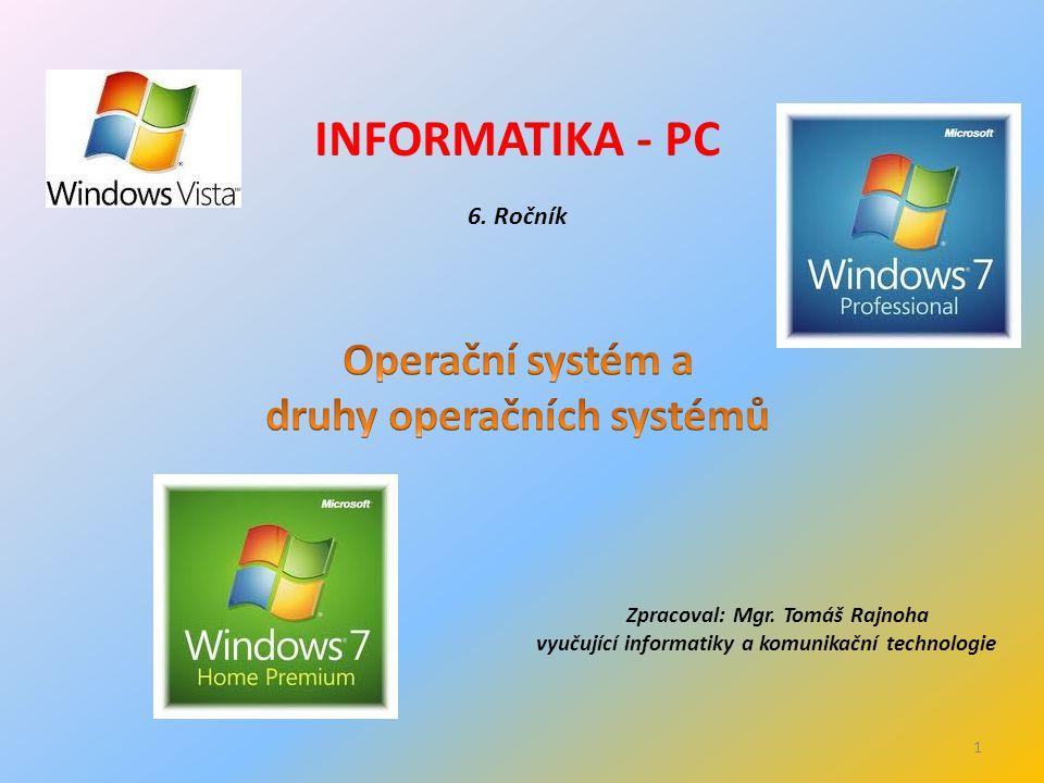 INFORMATIKA - PC 6. Ročník Zpracoval: Mgr.