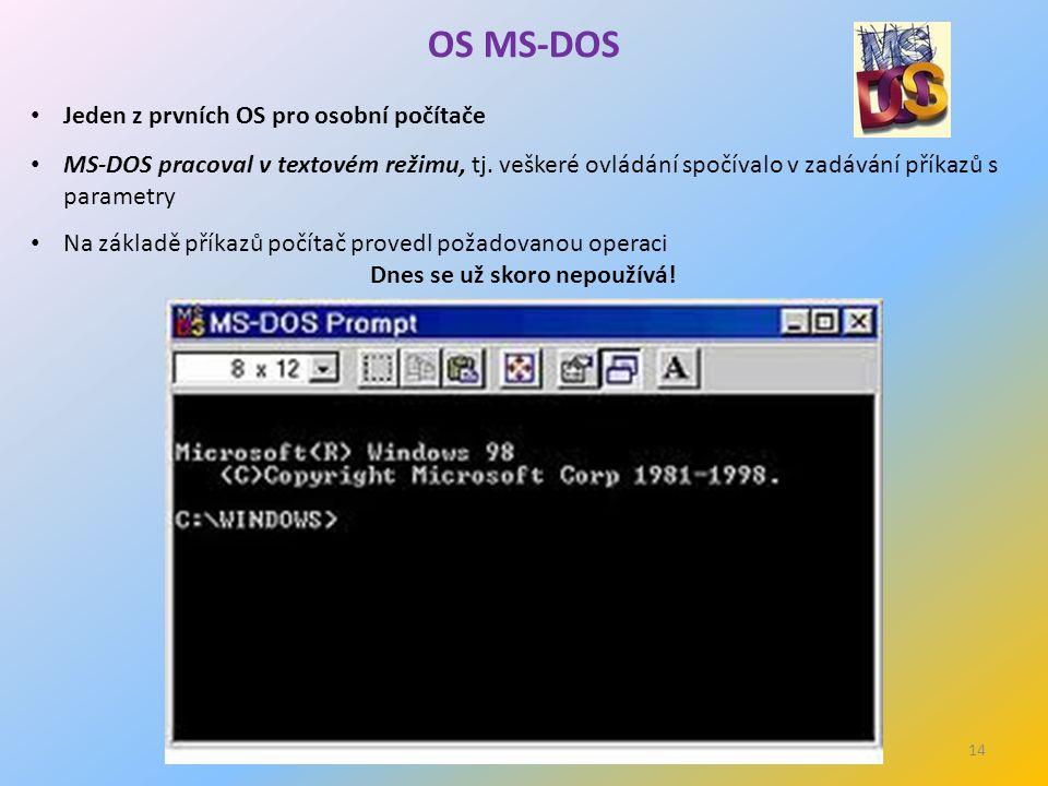 14 OS MS-DOS Jeden z prvních OS pro osobní počítače MS-DOS pracoval v textovém režimu, tj.