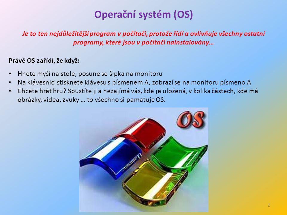 2 Operační systém (OS) Je to ten nejdůležitější program v počítači, protože řídí a ovlivňuje všechny ostatní programy, které jsou v počítači nainstalovány… Právě OS zařídí, že když: Hnete myší na stole, posune se šipka na monitoru Na klávesnici stisknete klávesu s písmenem A, zobrazí se na monitoru písmeno A Chcete hrát hru.