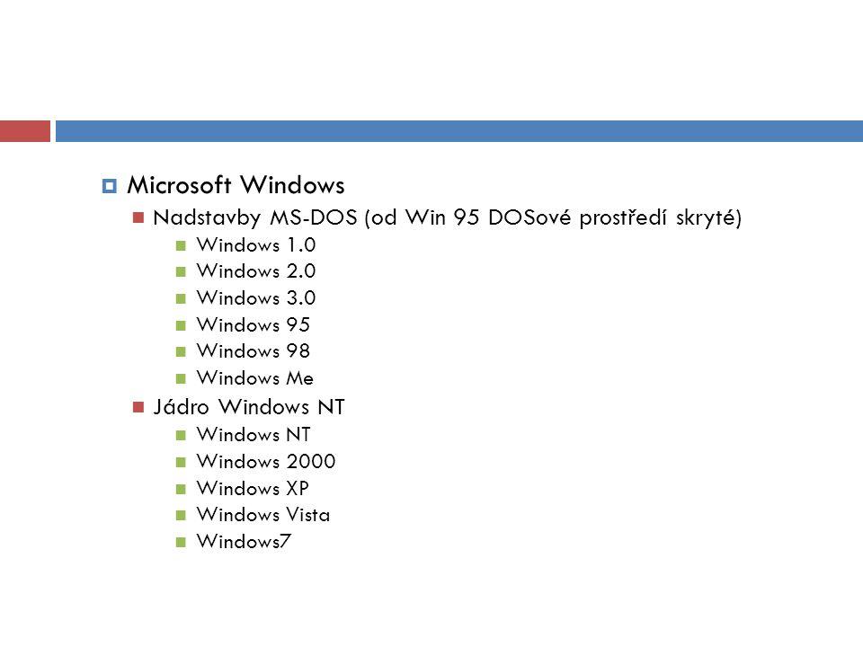  Microsoft Windows Nadstavby MS-DOS (od Win 95 DOSové prostředí skryté) Windows 1.0 Windows 2.0 Windows 3.0 Windows 95 Windows 98 Windows Me Jádro Windows NT Windows NT Windows 2000 Windows XP Windows Vista Windows7