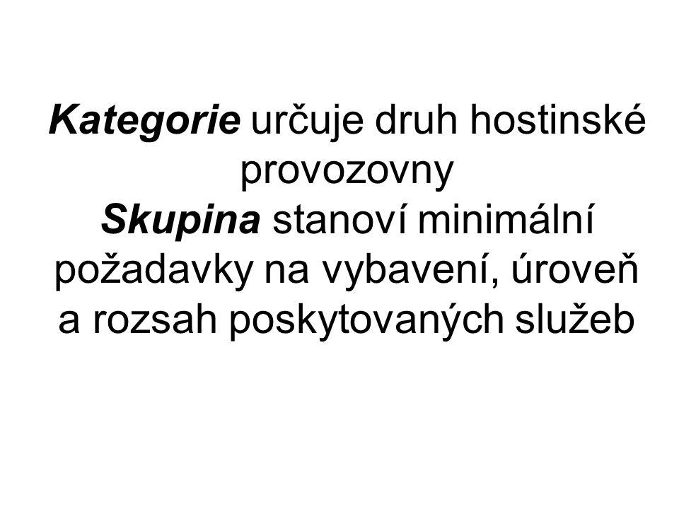 Kategorie určuje druh hostinské provozovny Skupina stanoví minimální požadavky na vybavení, úroveň a rozsah poskytovaných služeb