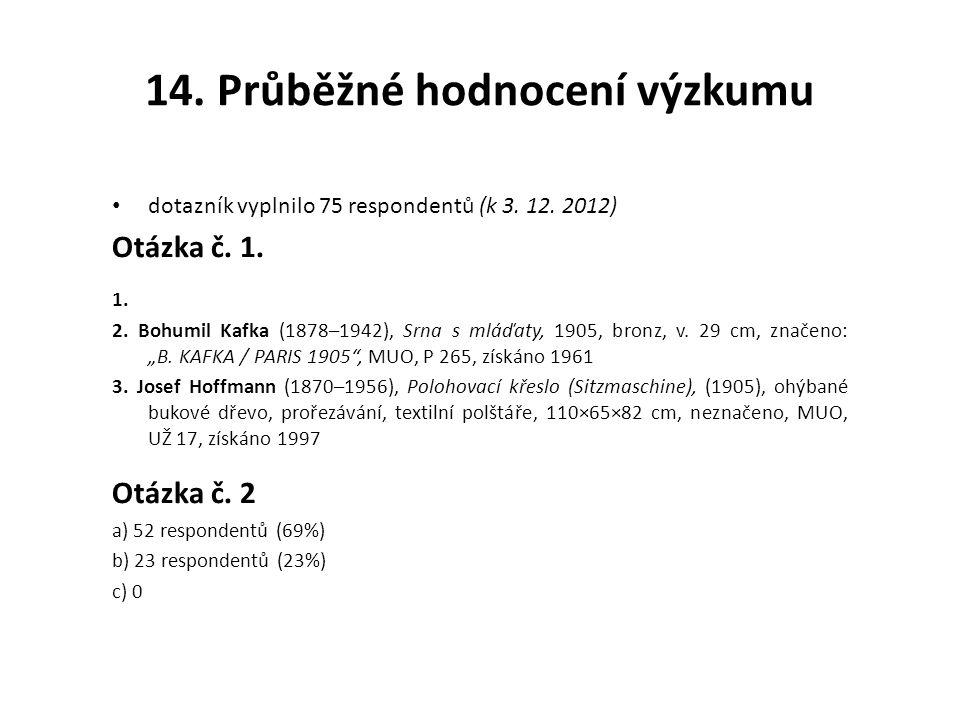 14.Průběžné hodnocení výzkumu dotazník vyplnilo 75 respondentů (k 3.