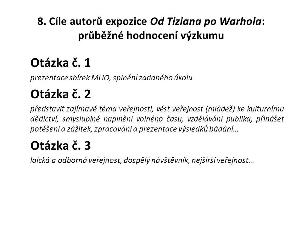 8.Cíle autorů expozice Od Tiziana po Warhola: průběžné hodnocení výzkumu Otázka č.